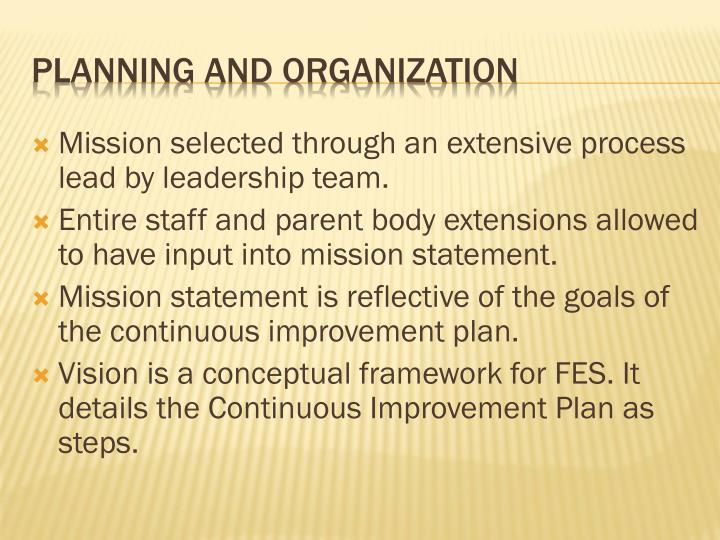 Mission selected through an extensive process lead by leadership team.