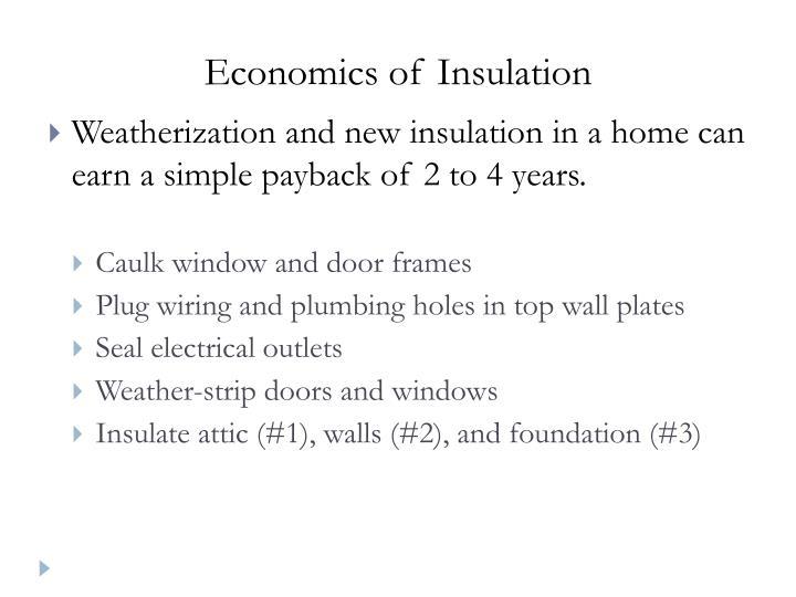 Economics of Insulation