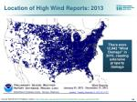 location of high wind reports 2013