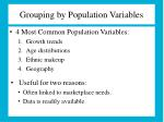 grouping by population variables
