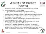 constraints for expansion kuldeep