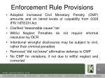 enforcement rule provisions