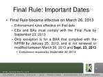 final rule important dates