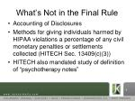 what s not in the final rule