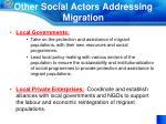 other social actors addressing migration