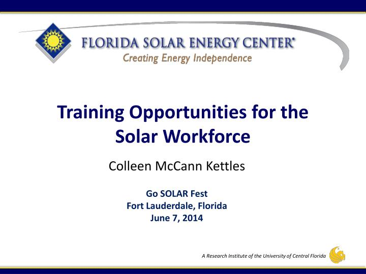training opportunities for the solar workforce n.