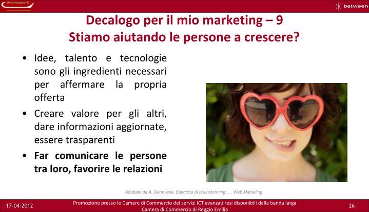 Decalogo per il mio marketing