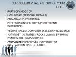 curriculum vitae story of your life