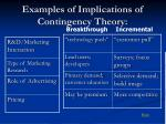 examples of implications of contingency theory