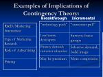 examples of implications of contingency theory1