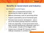 benefits to government and industry solar friendly communities program