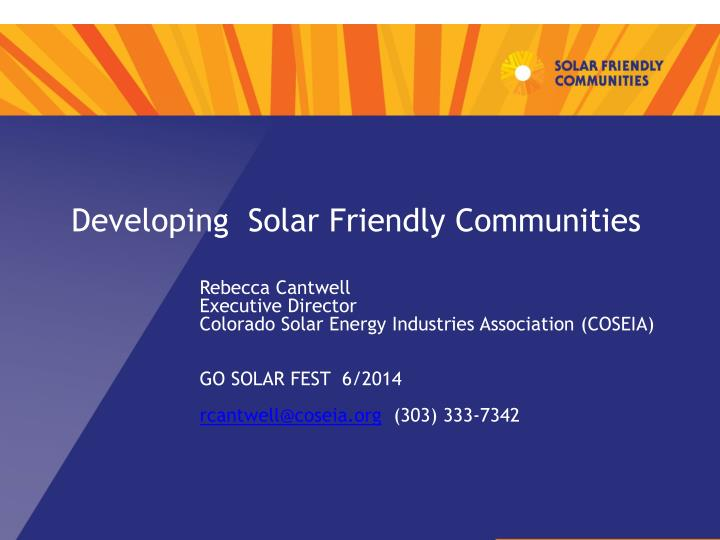developing solar friendly communities n.