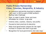 public private partnership cities counties nonprofits industry
