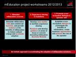meducation project workstreams 2012 2013