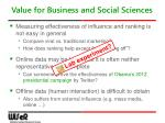 value for business and social sciences