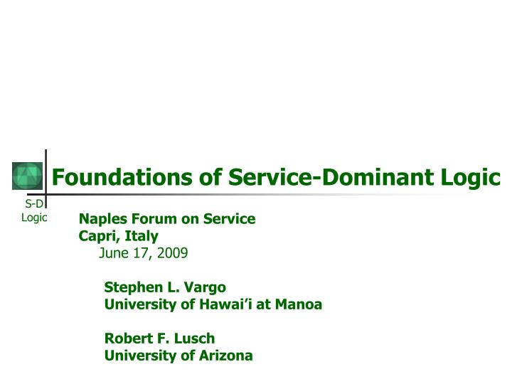 foundations of service dominant logic n.