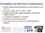 frontiers in service conference