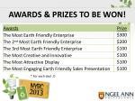 awards prizes to be won
