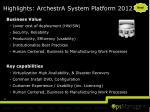 highlights archestra system platform 2012