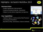 highlights archestra workflow 2012