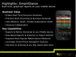 highlights smartglance real time graphical reports on your mobile device