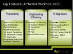 top features archestra workflow 2012