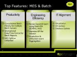 top features mes batch