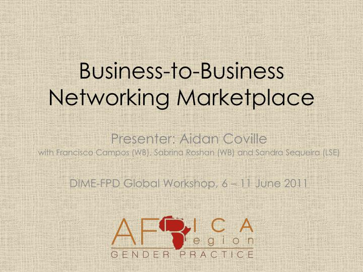business to business networking marketplace n.