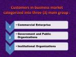 customers in business market categorized into three 3 main group