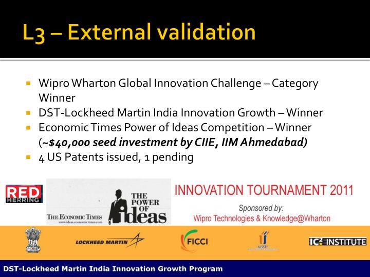 L3 – External validation