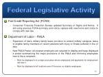federal legislative activity