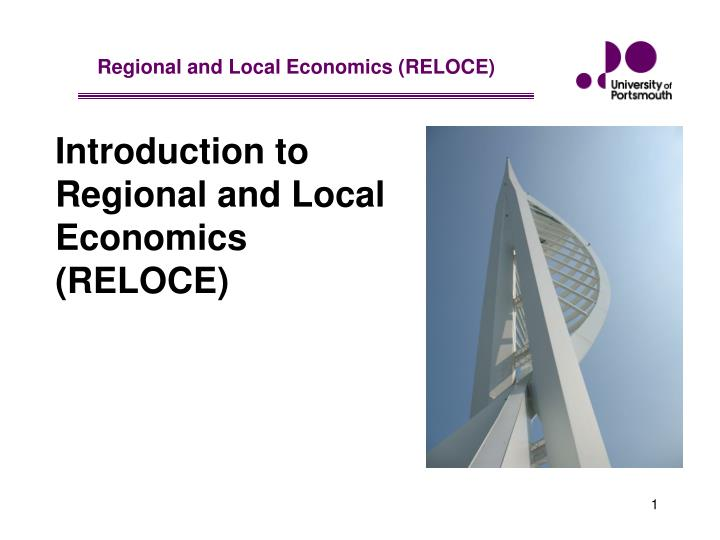 introduction to regional and local economics reloce n.