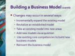 building a business model cont d