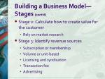 building a business model stages cont d