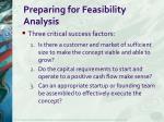 preparing for feasibility analysis