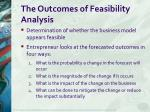 the outcomes of feasibility analysis