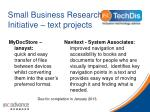 small business research initiative text projects