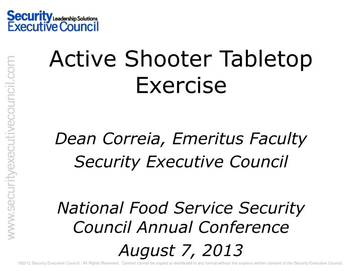 active shooter tabletop exercise n.