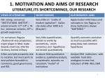 1 motivation and aims of research literature its shortcomings our research