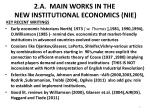 2 a main works in the new institutional economics nie
