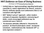 hh7 evidence on ease of doing business analogue of wb doing business reports