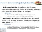 phase ii commercial capability deliverables