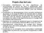 projets chez bell labs