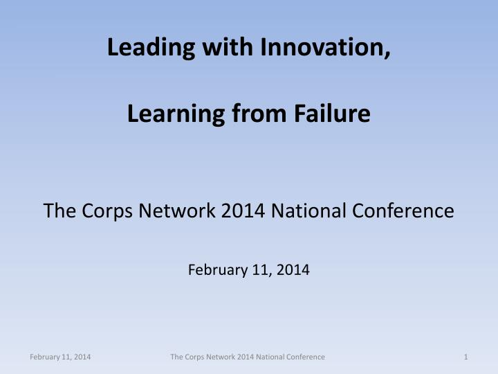 leading with innovation learning from failure n.