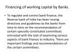 financing of working capital by banks