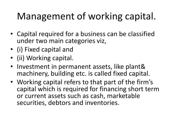 management of working capital n.