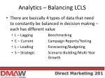 analytics balancing lcls