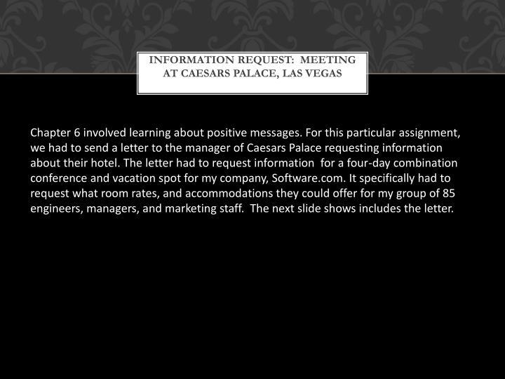 Information request meeting at caesars palace las vegas