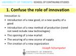 1 confuse the role of innovation