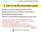 2 fail to clarify innovation goals